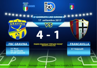 3a Giornata LND 2017/2018: FBC Gravina- Francavilla