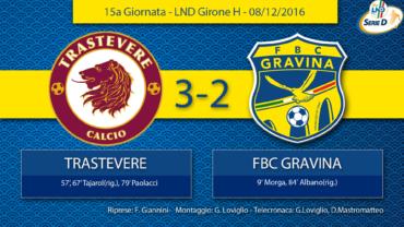 15a Giornata- LND Girone H: Trastevere- FBC Gravina
