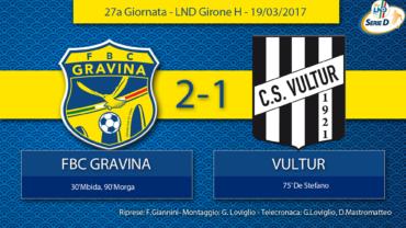 27a Giornata- LND Girone H: FBC Gravina- Vultur