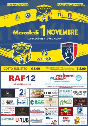 FBC Gravina- FC Taranto: al via la prevendita