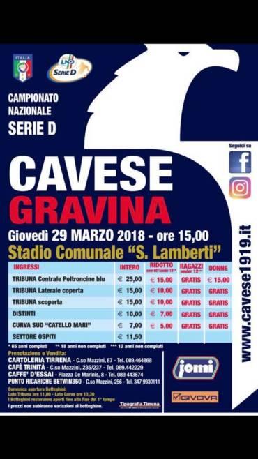 Cavese- FBC Gravina: info biglietti