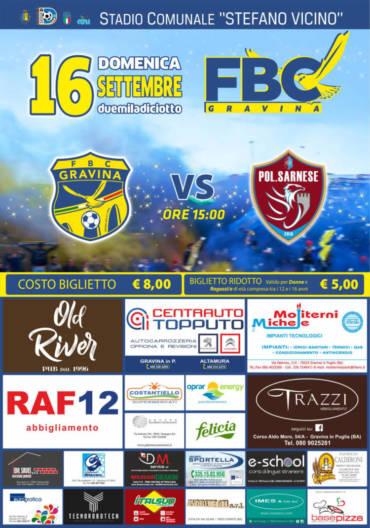La Sarnese al Vicino apre il campionato 2018/2019 della FBC Gravina