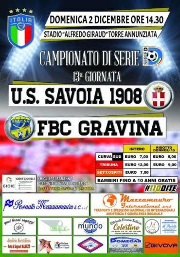 Savoia – FBC Gravina: info biglietti settore ospiti