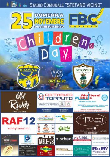 """""""Children's day"""", al Vicino sono i bambini i protagonisti di FBC Gravina – Bitonto"""