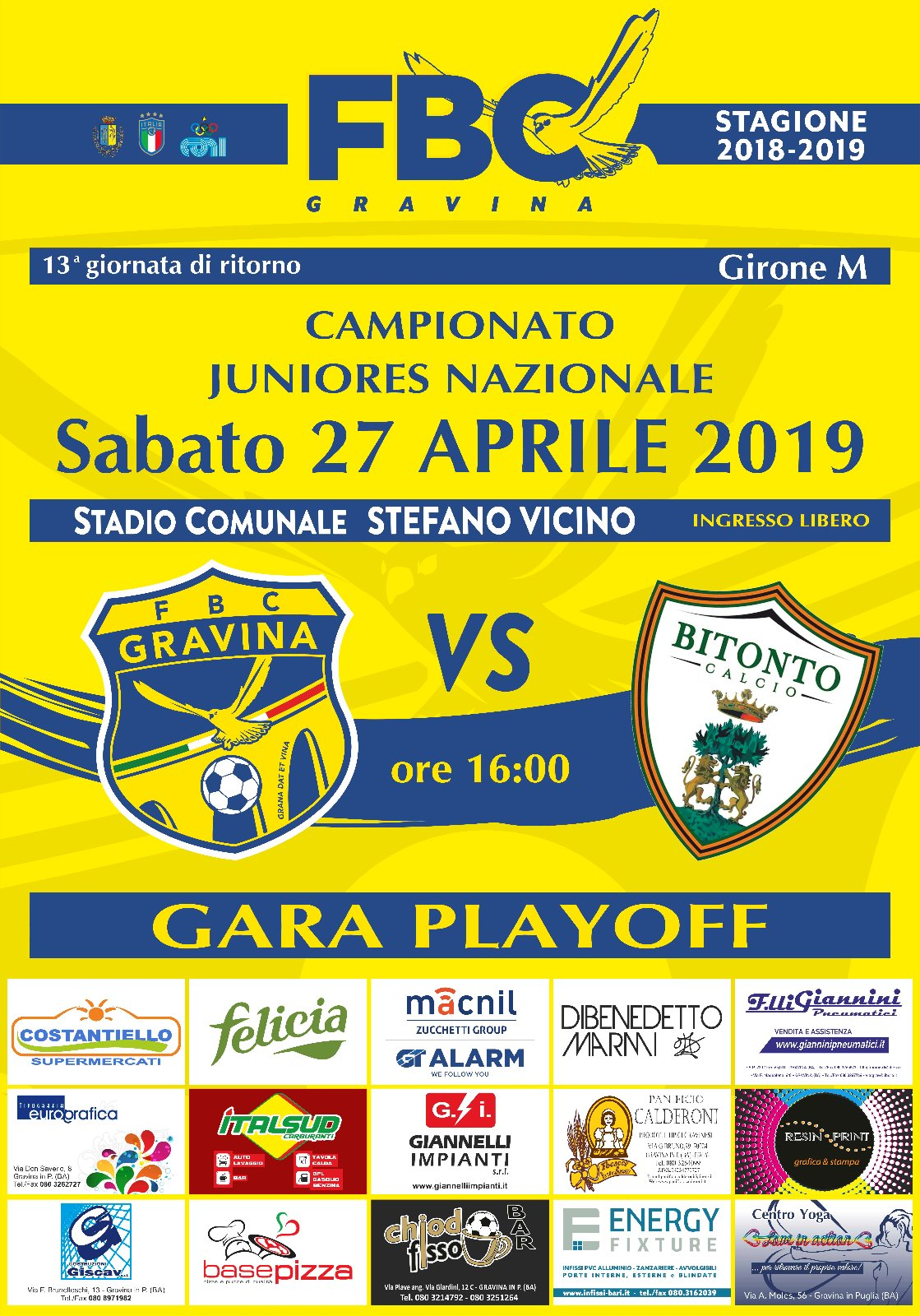 Juniores, al via i playoff: al Vicino arriva il Bitonto