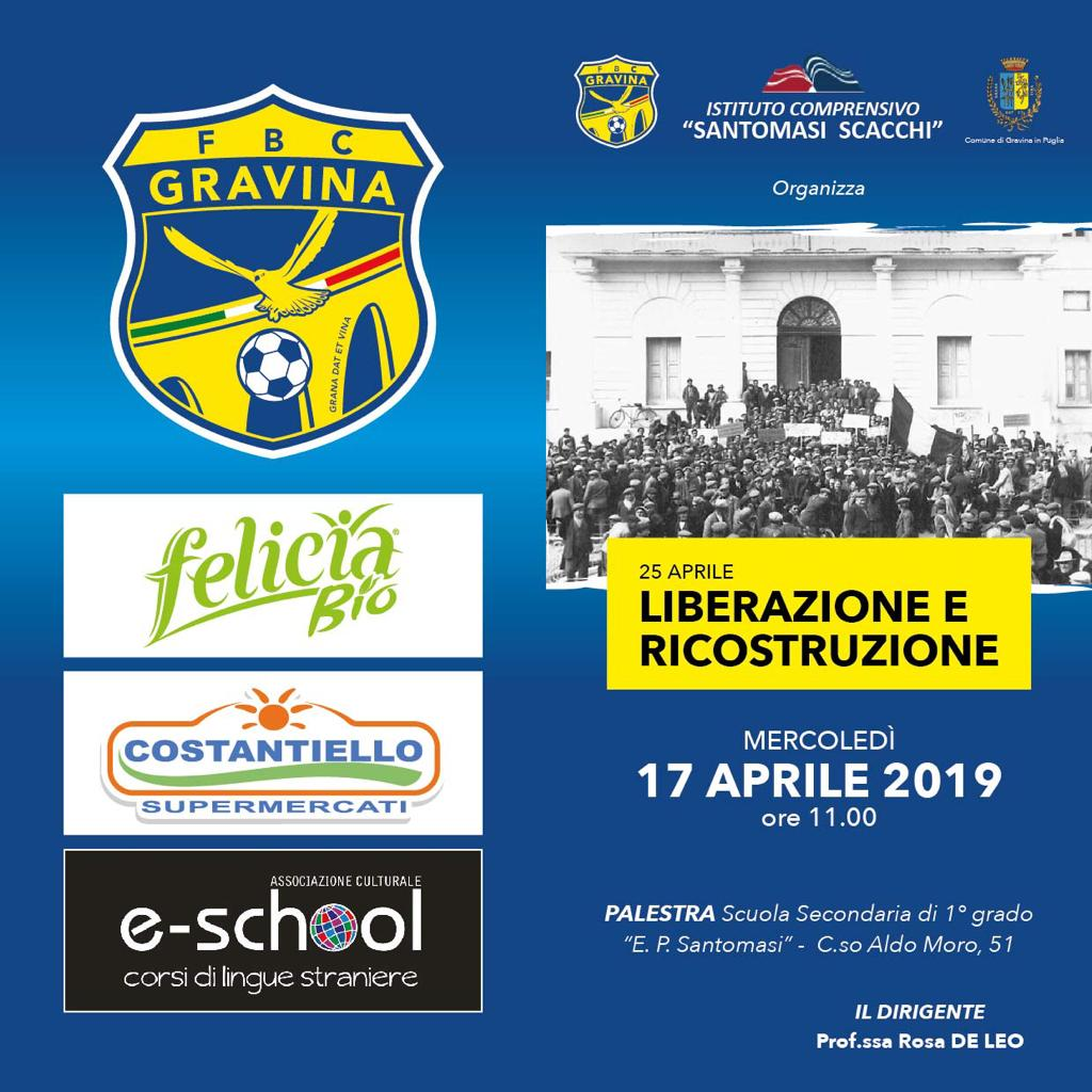 """La FBC e la scuola """"Santomasi"""" rievocano la Liberazione d'Italia"""