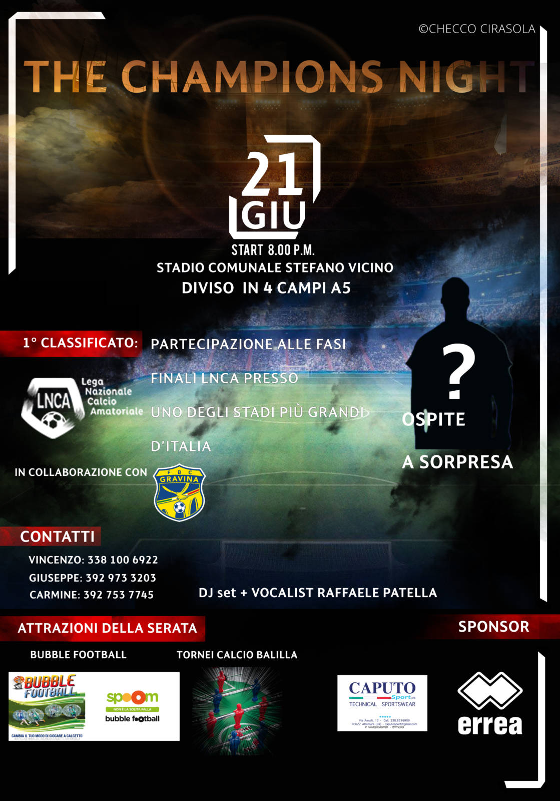 """The Champions Night"", si accendono le luci al Vicino di Gravina"