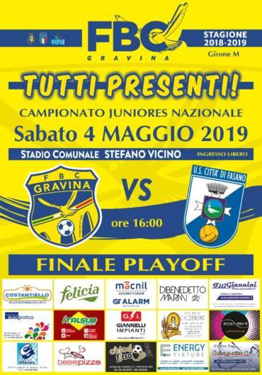 Juniores, sabato c'è la finale playoff tra FBC e Fasano: tutti al Vicino!