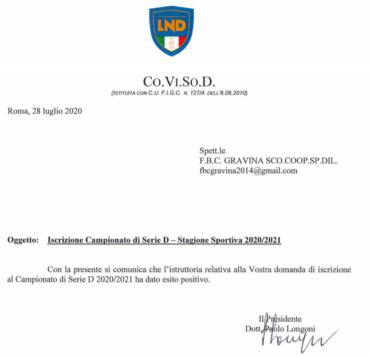 UFFICIALE: FBC Gravina iscritta al campionato di serie D 2020/2021